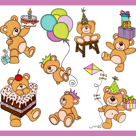 Birthday teddy bear set digital elements Banque d'images - 104177081