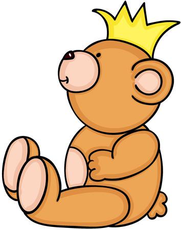 Teddy bear sitting with yellow crown Иллюстрация