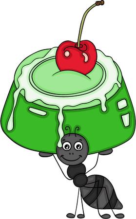 Ant carrying a green gelatine cake Ilustração