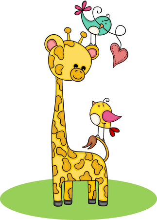 Cute giraffe with couple of birds Illustration