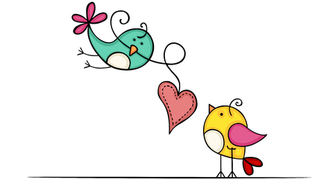 Lovely birds with heart Ilustracja