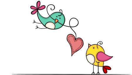 Lovely birds with heart Illustration