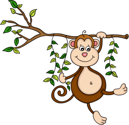 Monkey hanging from a tree in jungle