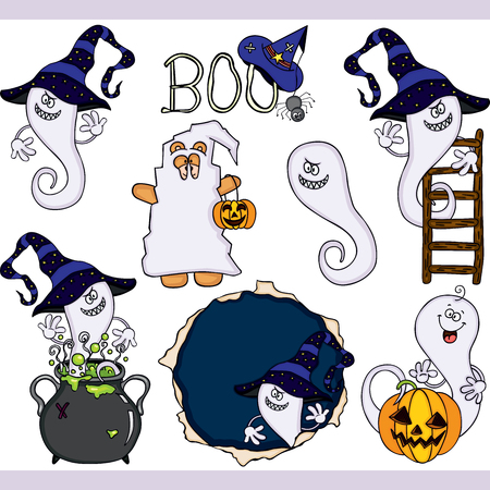 Boo ghost Halloween set digital elements