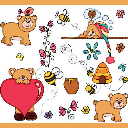 Cute teddy bear set digital elements