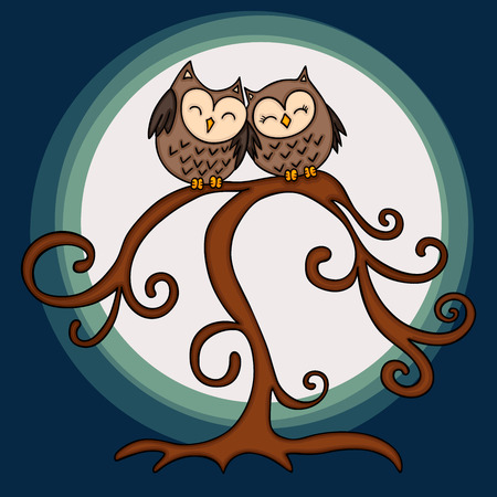 Couple of owl in tree on night background