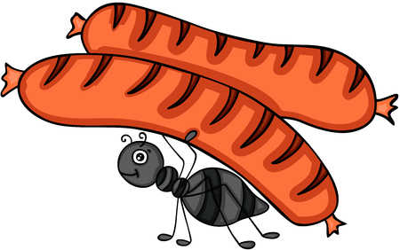 Ant carrying a grilled sausage