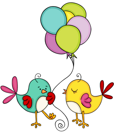 Cute couple bird with balloons