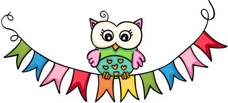 Owl wih flag banner
