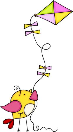 Cute bird flying a kite