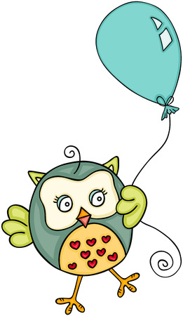 Cute owl with balloon