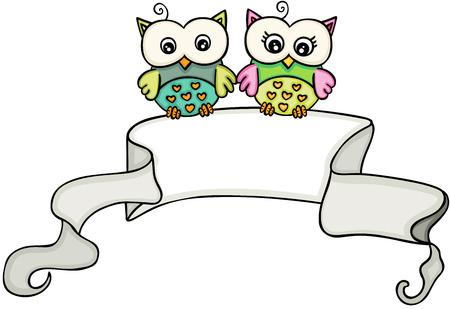 Owl couple with ribbon banner Zdjęcie Seryjne - 104780597