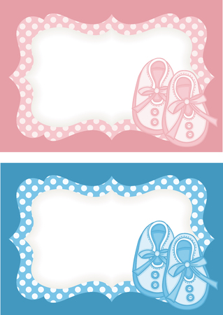 Pink and blue baby shoes label