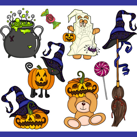 Halloween set digital elements Vetores