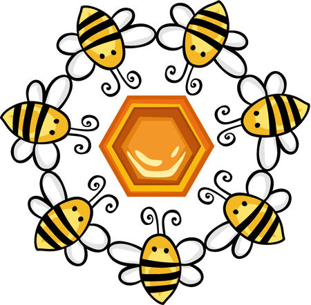 Circle of bees around a honeycomb