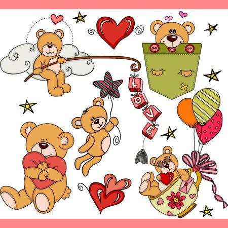 Teddy bear party set digital elements