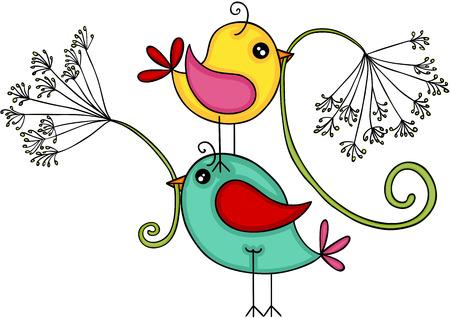 Happy birds with dandelion flower