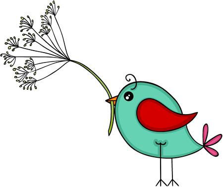 Niebieski ptak z kwiatem mniszka lekarskiego