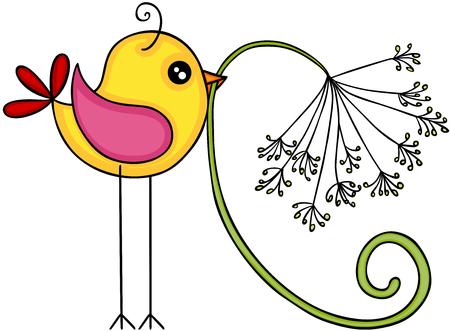 Yellow bird with dandelion flower Ilustracje wektorowe