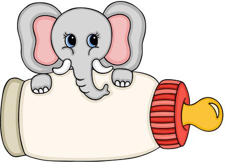 Éléphant mignon avec bouteille de lait pour bébé