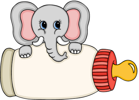 Netter Elefant mit Babymilchflasche