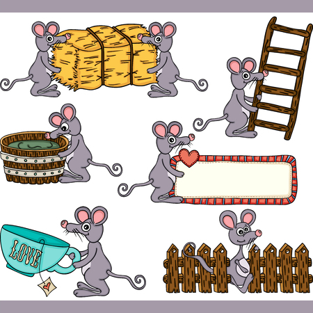 Cute mouse set digital elements Stock Illustratie