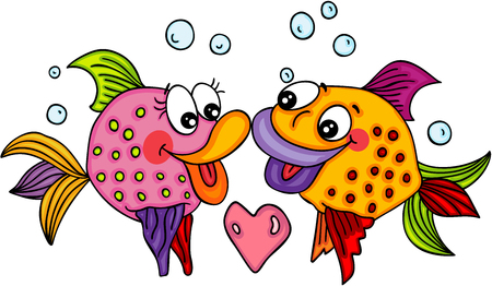 Fish couple love Illustration
