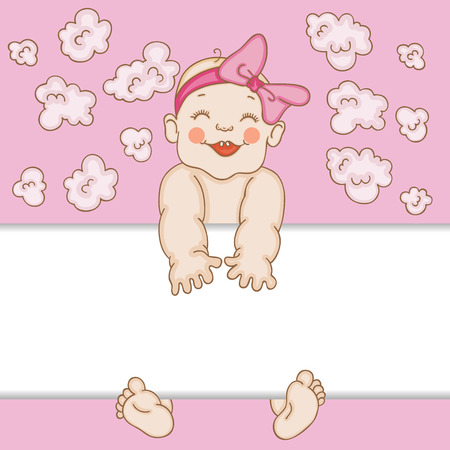 Baby girl arrival card  イラスト・ベクター素材