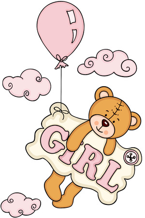 Baby girl teddy bear flying with balloon and a signboard  イラスト・ベクター素材