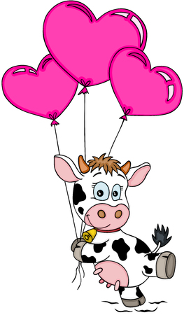 Glückliche Kuh, die mit Luftballons fliegt