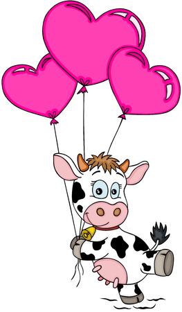 Vaca feliz volando con globos