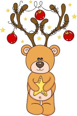 Reindeer Teddy Bear Christmas Illustration