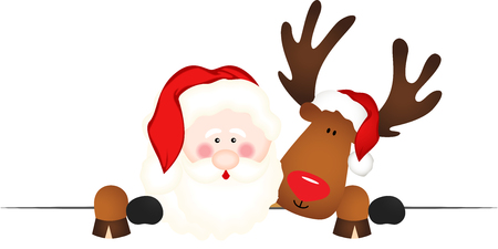 Santa Claus and reindeer with a blank template Illustration