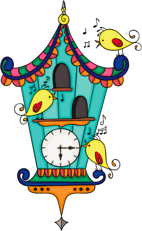 Wood cuckoo clock with yellow birds