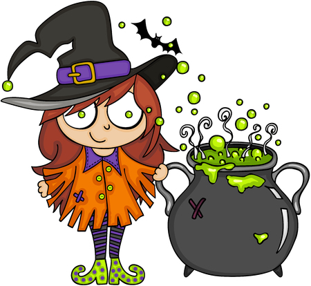 Halloween cute witch with cauldron