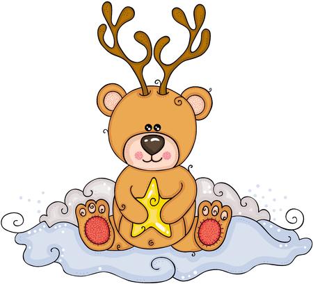 Christmas illustration of cute teddy bear with deer horns Illustration
