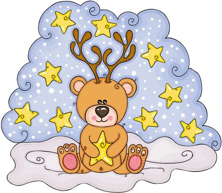 Christmas illustration with teddy bear Illustration