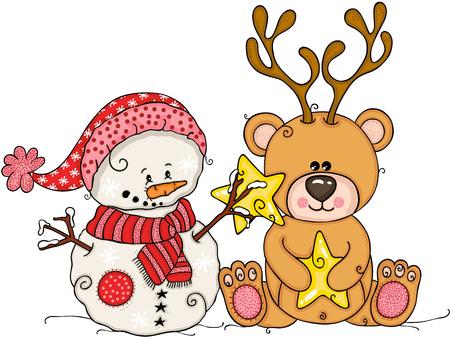 Cute snowman and teddy bear with deer horns