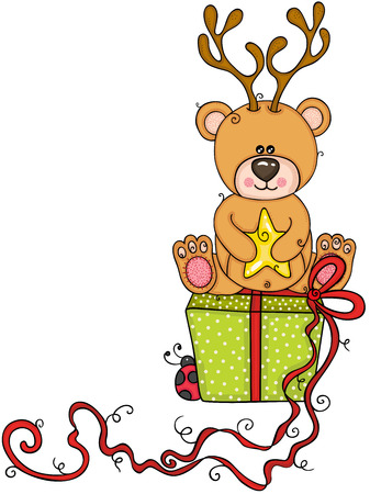 Teddy bear with deer on the green gift