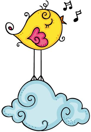 Cute yellow bird singing on cloud