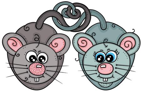 Couple of cute mice in love Standard-Bild - 115939283