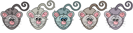 Five mice in a row Standard-Bild - 115939285