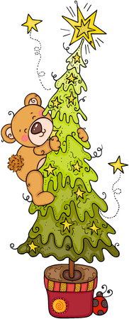 Teddy bear climbing  イラスト・ベクター素材