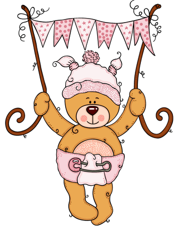 Baby girl teddy bear holding a pink flag banner  イラスト・ベクター素材