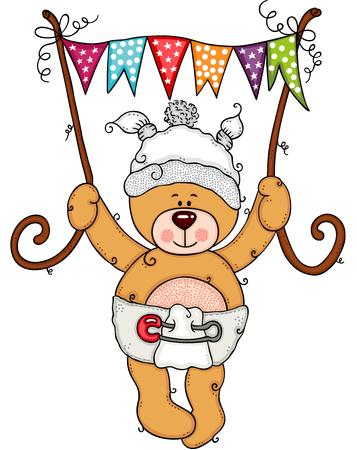 Baby teddy bear holding a flag banner