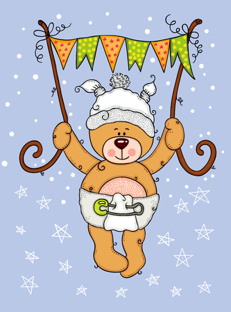 Illustration baby teddy bear flying holding a flag banner