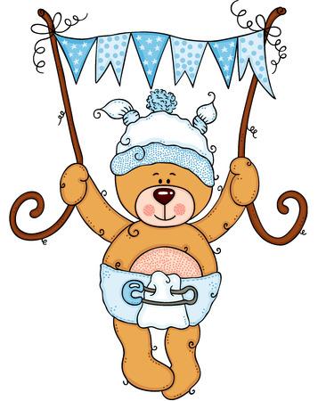 Baby boy teddy bear holding a blue flag banner