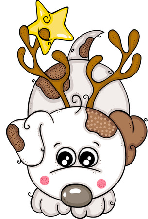 Cute white dog with horns of reindeer and star