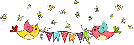 Cute birds flying on star sky holding a flag banner of party Illustration