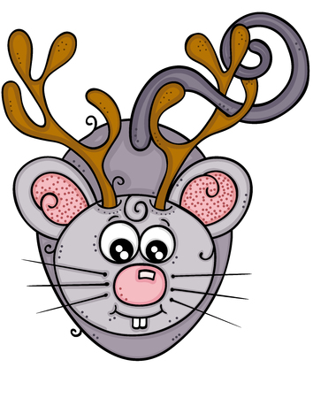 Cute gray mouse with horns of reindeer Illustration